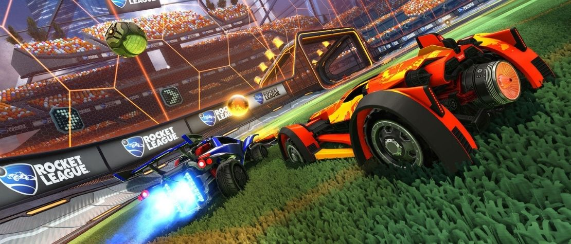 Rocket League cars and ball on the arena