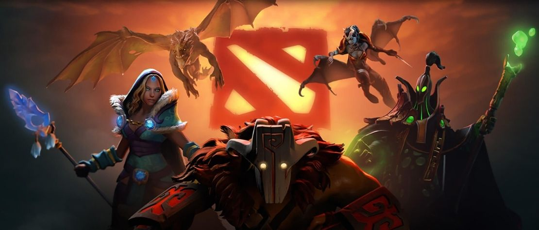 dota 2 heroes and the logo of dota 2